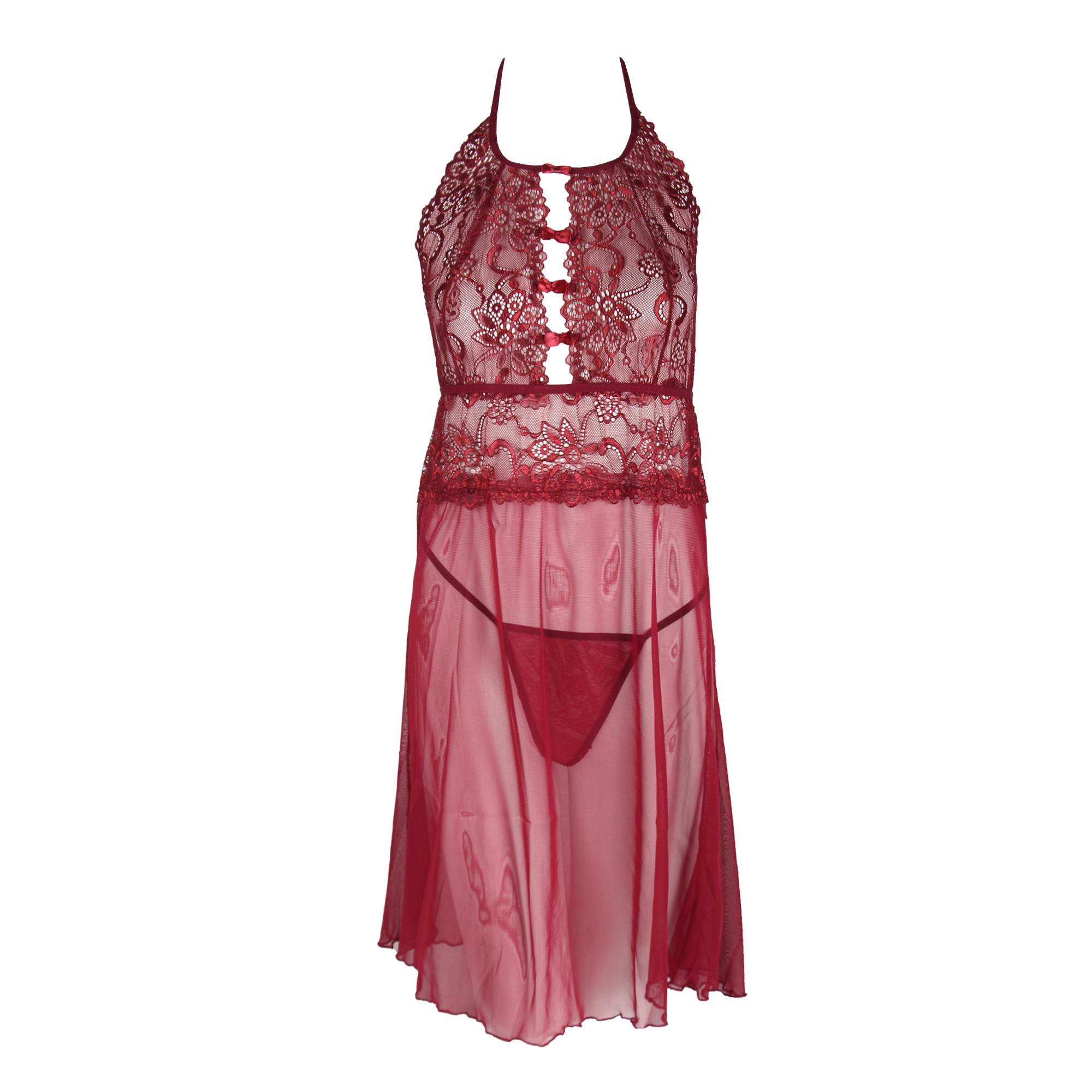 لباس خواب زنانه دانتل زرشکی